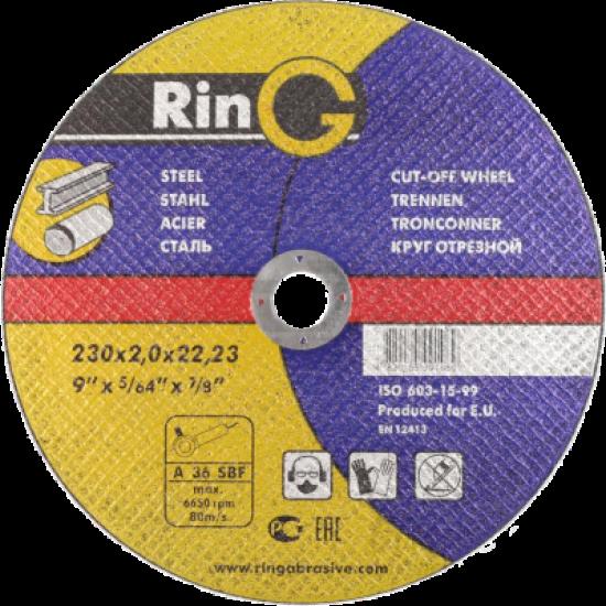 Круг отрезной по металлу РИНГ 230х2,5х22,2